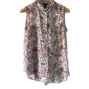 H&M sleeveless button down floral tunic blouse